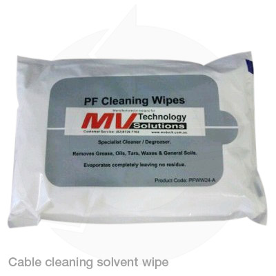 cable cleaning solvent wipes