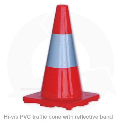 hi vis pvc traffic cone with reflective band