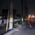 pole marker at night