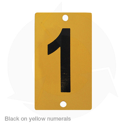 black on yellow numerals