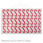 reflective red on white s labels